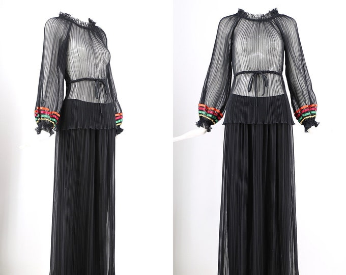 70s Giorgio Sant Angelo chiffon pleated set sz 6 / 1970s vintage designer peasant dress maxi blouse skirt 2 pc outfit