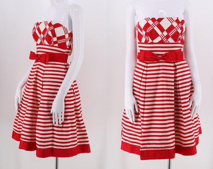 80s VICTOR COSTA striped cocktail dress size 6 / vintage 1980s candy cane striped strapless pouf dress red & white
