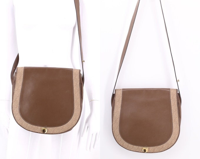 80s MOVADO brown leather bag / vintage 1980s crossbody logo flap purse shoulder hand bag