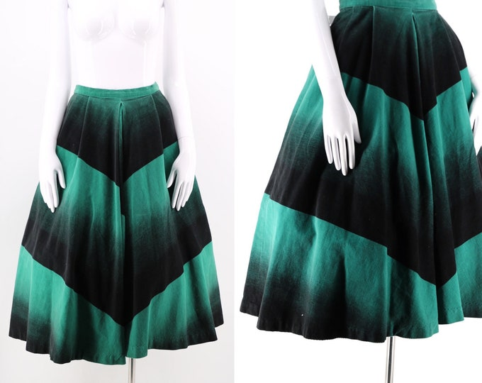 50s Phil Rose corduroy graphic chevron circle skirt / vintage 1950s graphic print ombre fine wale pin up skirt 26""