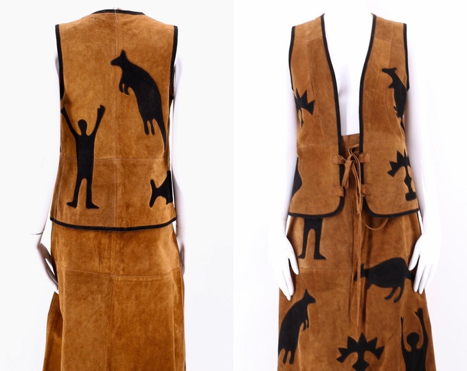 70s Suede Appliqued Two Piece dress Outfit / vintage 1970s cave painting skirt & vest top set XS 24""
