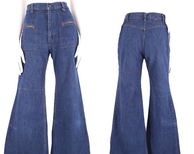 "70s LEVIS 27"" Orange Tab high waisted denim bell bottoms zipper jeans / vintage 1970s Levis L for Gals rare dark denim flares pants S"