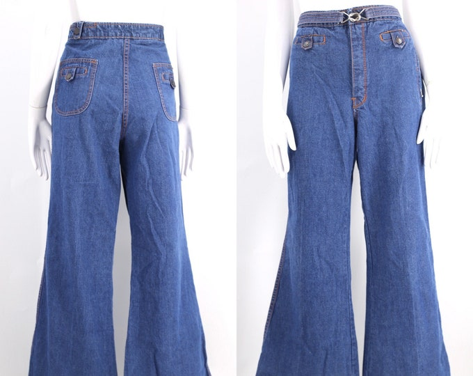 70s HORIZON high waisted denim bell bottoms jeans 36  / vintage 1970s buckle flares pants sz Large XL