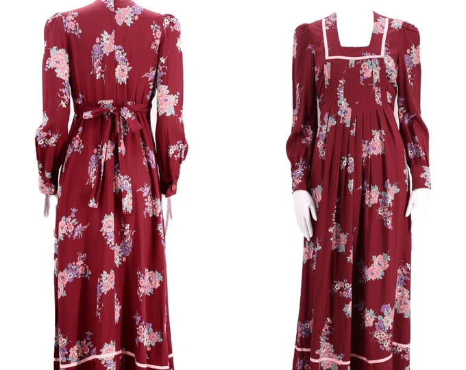 70s PHASE II floral prairie maxi dress 7 / vintage 1970s cranberry peasant dress gown M