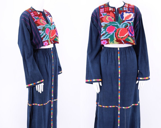 vintage Indigo Cotton Guatemalan Huipil Outfit / embroidered top and skirt handmade dress XL