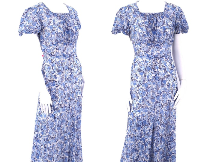30s blue cotton voile day dress size L / vintage 1930s deco floral sheer cotton bias cut depression era dress