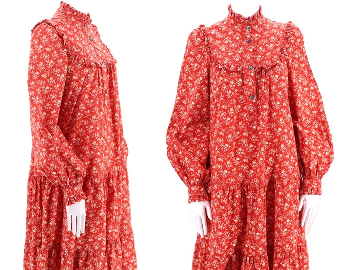 80s LAURA ASHLEY red cotton prairie peasant dress sz 8 / vintage 1970s Great Britain red calico puff sleeve Victorian gown RARE uk 12 us 6