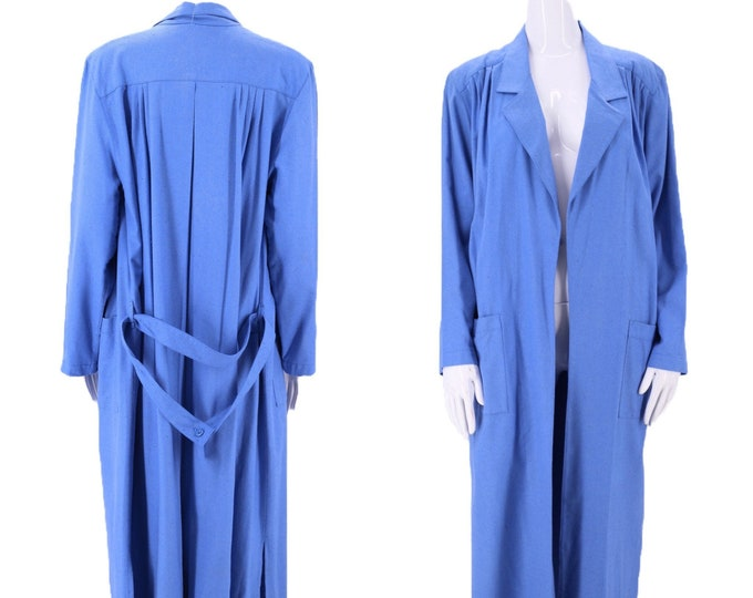80s natural silk oversized blue duster coat S / vintage 1980s NATURELLE slouchy loose overcoat Small - medium