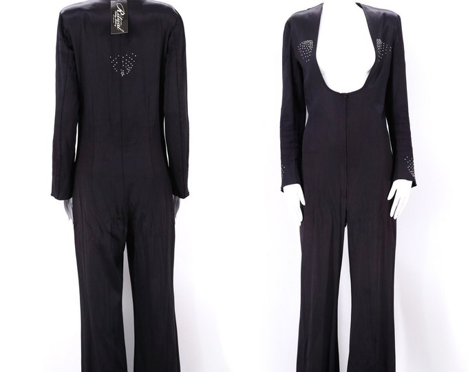 rare 70s UNISEX satin glam rock bell bottom jumpsuit size M / 1970s PJ BOUTIQUES nyc black rhinestone rock & roll one mens piece medium-L