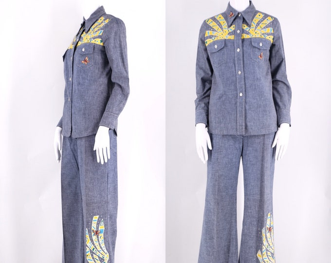 70s chambray denim suit with custom painted design sz 8  / 1970s vintage mignon custom outfit bell bottoms shirt top