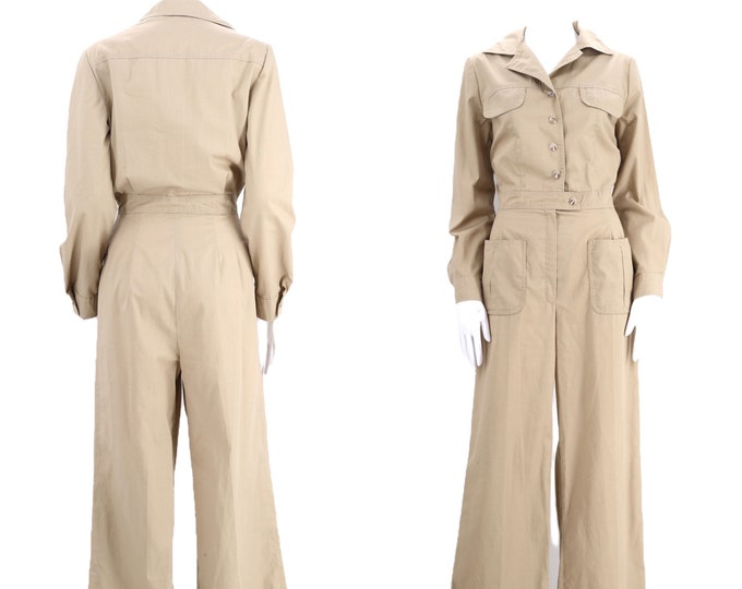 70s khaki safari bell bottom jumpsuit size M / 1970s original crisp cotton flare leg one piece boiler suit outfit medium