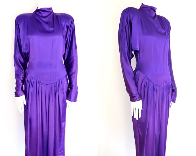80s Norma Kamali purple satin dress / vintage 1980s strong shoulder draped cocktail dress omo sz 6