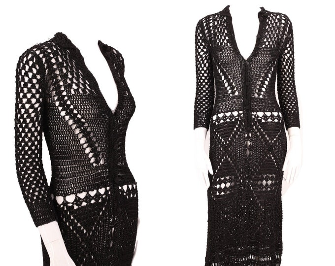 60s black hand crochet dress M / vintage 1960s 70s form fitting mesh festival midi dress gown M 1970s