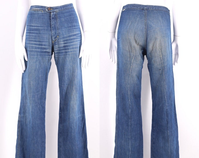 70s HIGH RISE denim high waisted bell bottom jeans 29 / vintage 1970s flares pants sz 4