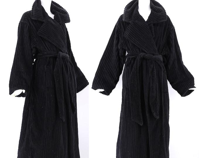 90s black OZBEK oversized trench coat L / vintage 1990s avant garde Futre Ozbek ribbed velvet robe style coat XL