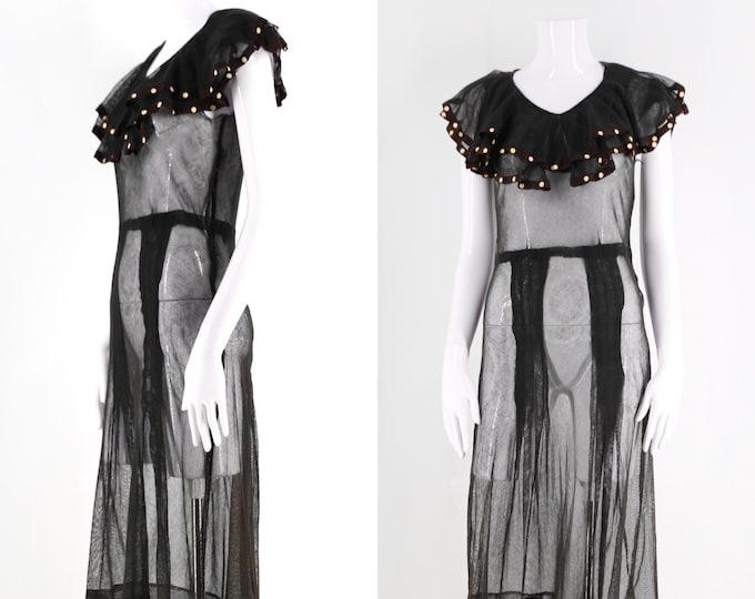 30s black mesh and ruffles sheer dress / vintage 1930s feminine overlay dress with polka dot print yoke size M