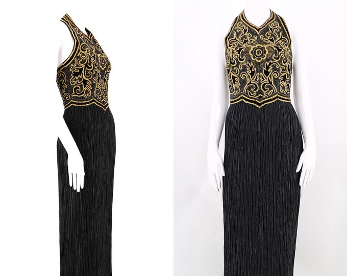 80s Mary McFadden Couture black plisse pleated gown sz 4  / vintage 1980s evening gown w/ heavily encrusted bodice designer dress size 4