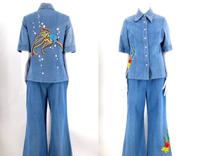 70s BEADED denim suit with cute fishy and sea creatures / 1970s vintage custom outfit bell bottoms shirt top sz 8