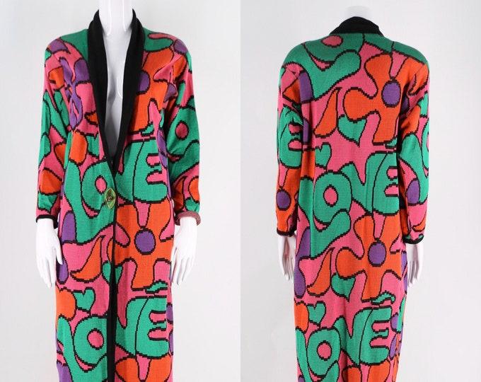 90s Marina Spadifora Italy 60s flower power LOVE duster cardigan sz L / vintage 1990s novelty print wild 80s sweater