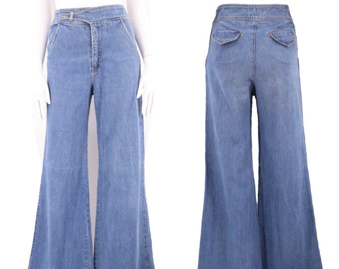 70s sz 26 bell bottoms jeans / vintage 1970s PENTIMENTO high waisted wide leg bells flares sz 7
