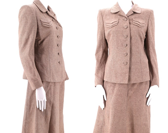 40s beige tweed post war skirt suit sz 8 / vintage late 1940s Whitleyette wool blazer jacket skirt outfit sz M