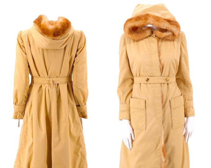 70s COURREGES khaki fur trim trench coat  / vintage 1970s cotton canvas rabbit trim hooded jacket coat M - L