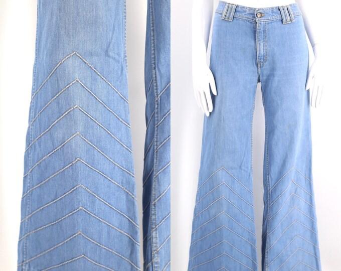 70s BRITTANIA chevron high waist bell bottom jeans 34 / vintage 1970s light denim stitched bell bottoms flares pants 12