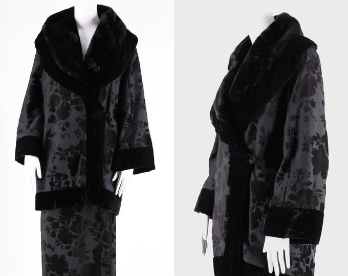 90s black KENZO kimono suit / vintage velvet flocked floral outfit padded jacket & wrap skirt dress 1990s 38 8