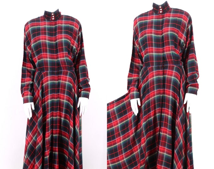 80s RALPH LAUREN plaid rayon dress 8 / vintage 1980s Polo red blackwatch print bias cut shirt dress M