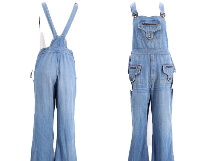 70s denim bell bottom overalls XL / vintage 1970s jeans jumpsuit flared bottoms RARE extra large 12 plus size 38""