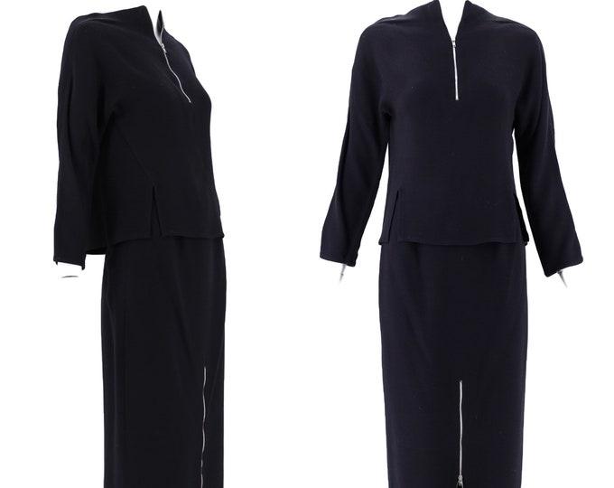 90s Geoffrey Beene black zipper dress set 2  / vintage 1990s Beene 2 piece outfit top skirt S