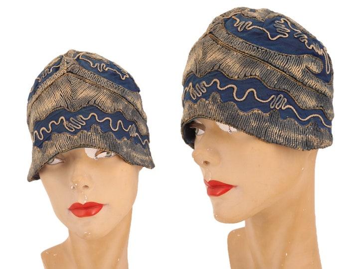 1920s blue CLOCHE hat  / vintage 1920s BOBETTE HATS embroidered flapper Deco party hat 30s