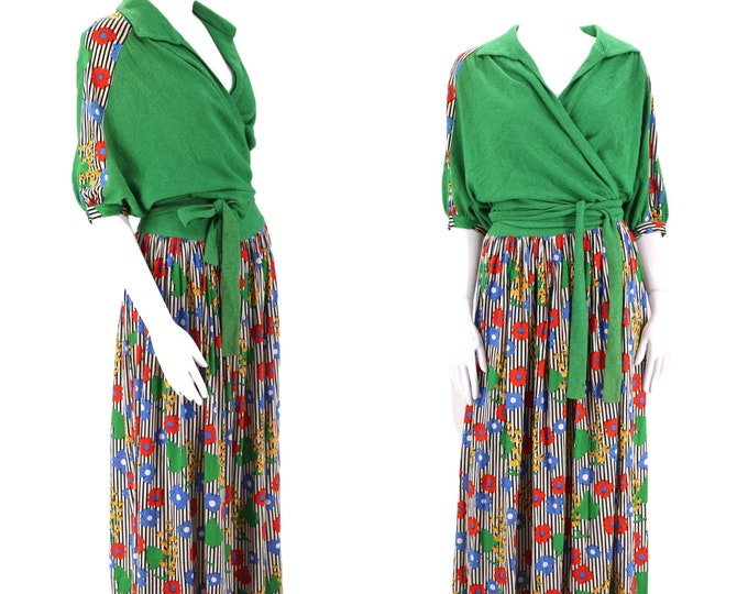 70s knit MISSONI floral print dress / vintage 1970s two piece outfit wrap top and midi skirt 42 / 8 1980s