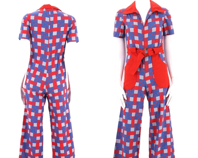 70s patchwork check bell bottom jumpsuit size XS / 1970s red white blue cotton flare leg one piece outfit 2 SMALL July 4th