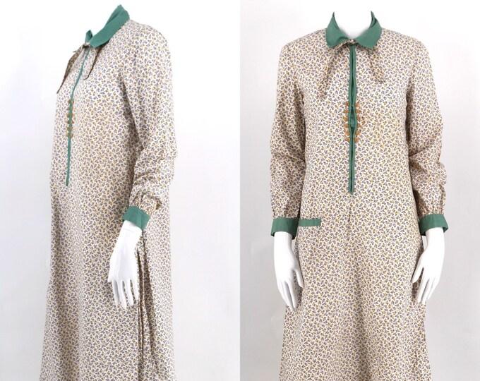 20s cotton & lace tea dress / vintage 1920s antique drop waist flapper dress Art Deco Gatsby party era size M