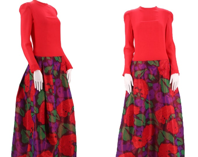 70s STAVROPOULOS watercolor silk evening dress L / RARE 1970s vintage designer ball gown Halston Large