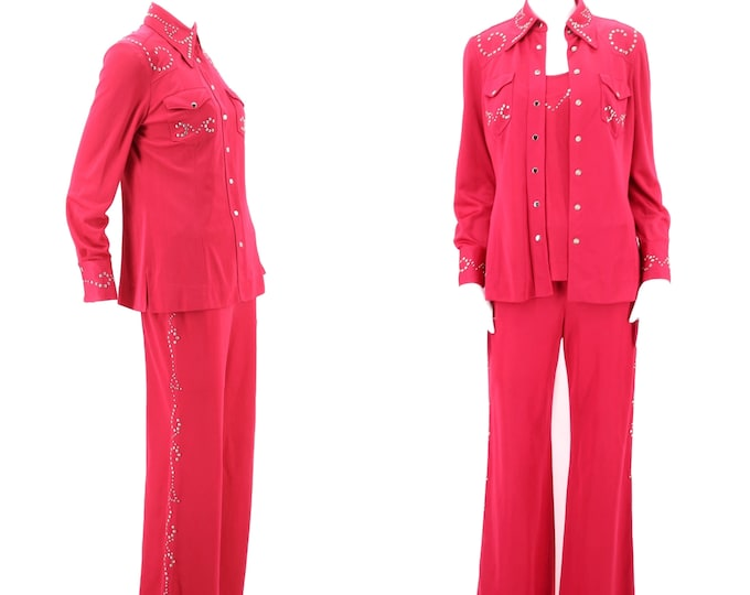 70s rhinestone cowgirl bell bottom suit / vintage 1970s MANNING SILVER fuchsia jersey Las Vegas custom set outfit 8