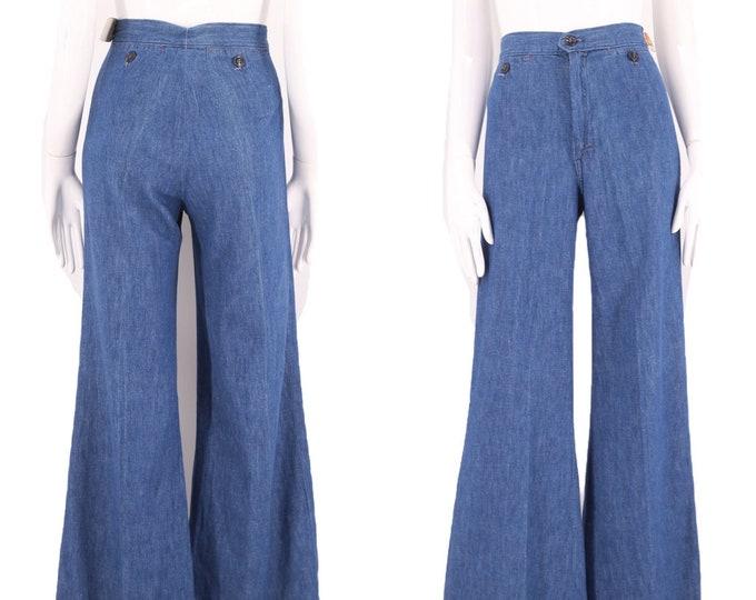 70s sz 25 high waist denim bell bottoms jeans / vintage 1970s dead stock wide leg flares pants 24