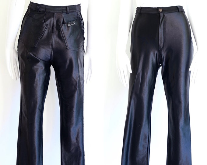 70s black ODDS n EVENS original spandex disco pants M / vintage 1970s shiny skin tight leggings size 4-8