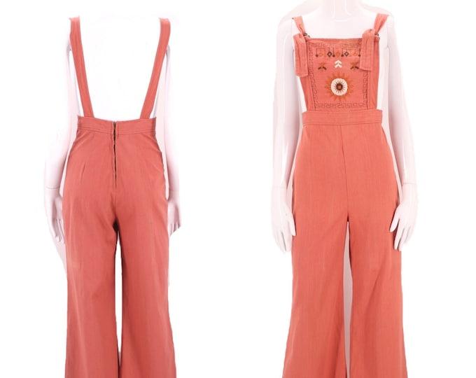 70s embroidered denim bell bottoms overalls 6 / vintage 1970s salmon cotton jumpsuit one piece sz 6 / m