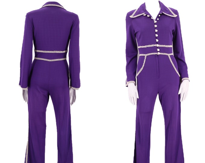 70s purple glam rock bell bottom jumpsuit size S / 1970s poly knit one piece disco jumpsuit 6