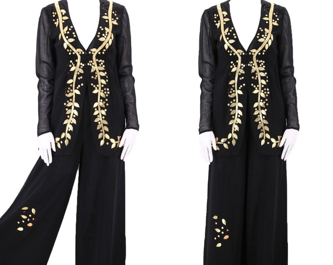 70s Pauline Trigere black high rise wide leg pants outfit M  / vintage 1970s TRIGERE gold laurel leaf trim blouse bell bottoms set suit 6-8