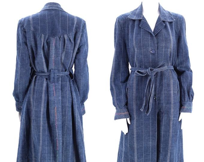 vintage INDIGO dyed trench coat sz L / woven cotton Japan Shibori belted jacket coat 80s 90s