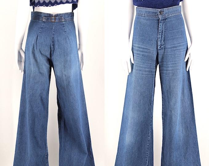 70s denim buckle back hi waist bells / vintage 1970s lightweight wide leg bell bottoms pants sz 28