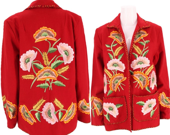 40s MEXICAN poppy embroidered wool jacket / vintage 1940s 1950s red wool floral flowers souvenir tourist jacket MEXICO