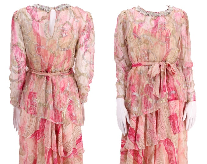 80s SILK FARM chiffon lurex print dress 8 / vintage 1980s pink gold sheer evening cocktail dress gown