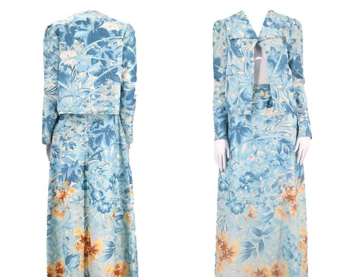 70s JEAN VARON print dress set L / vintage 1970s England botanical print 2 pc outfit jacket maxi skirt size uk 12 US 10
