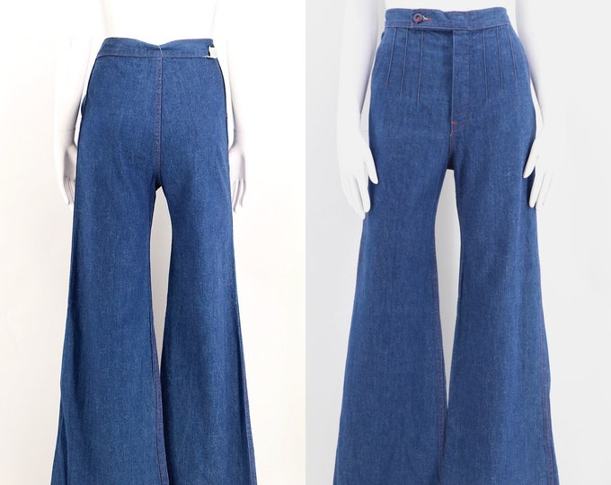 70s high waisted sz 29 seamed denim bell bottoms jeans  / vintage 1970s wide leg seamed stitched flares pants sz 6