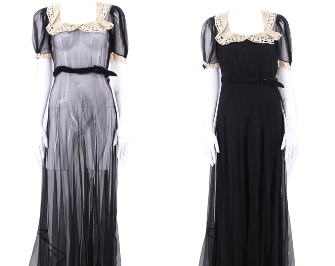 30s black sheer chiffon gown size M / vintage 1930s Art Deco white linen trim evening dress maxi