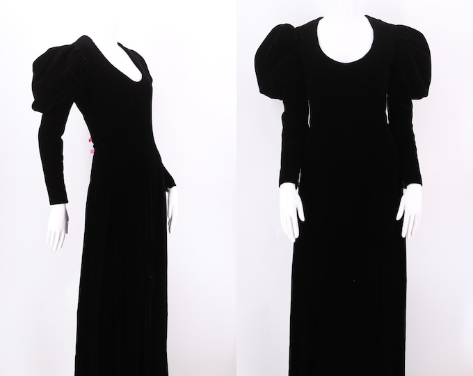 1970s DONALD BROOKS black velvet Medieval gown 8
